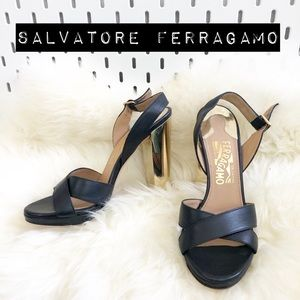 Salvatore Ferragamo Gold Heel Leather Platforms
